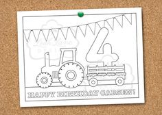Tractor Hayride Birthday Party Printable Coloring Sheet on Etsy, $6.00