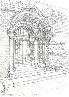 "gopalik:  ""Second phase of a Romanesque portal""Size A3Finelinear"