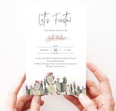 Boho Fiesta Bridal Shower Invitation Cactus Modern Bridal | Etsy