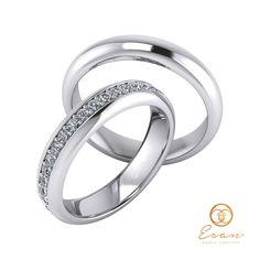 Verighete din aur alb cu diamante model bentita ESV9 Aur, Wedding Rings, Engagement Rings, Model, Jewelry, Enagement Rings, Jewlery, Jewerly, Schmuck