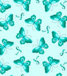 Anti Pill Fleece Fabric-Teal Ribbon N Butterfly
