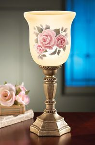 Glass-Pink-Rose-Accent-Electric-Lamp-Table-Mantel-Bedroom-Home-Accent-Decor-New