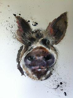 Koon Koon pig by sarahstokes Watercolor Animals, Watercolor Art, Pig Drawing, Pig Art, Creature Feature, Animal Paintings, Pet Birds, Portrait, Fantasy Art