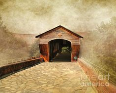The Other Side - an ethereal portrait of a wooden covered foot bridge in Old Salem, Winston-Salem, North Carolina.