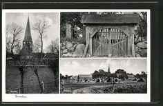 Alte Ansichtskarte: AK Eventin, Kirche, Friedhoftor, Feldweg