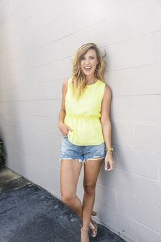 Yellow Peplum Top | Jillian Landry Designs Boutique | Summer Outfit Ideas | Casual Style | Dressy Peplum Top | Loose Peplum Top | Work Peplum Top | Peplum Top With Jeans | Peplum Blouse | Spring Style | Boutique Fashion | Transitional Outfits, The Cardigans, Summer Outfits, Casual Outfits, Peplum Blouse, Spring Style, Fashion Boutique, Spring Fashion, Outfit Ideas