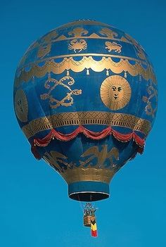 Beautiful Blue and Gold Hot Air Balloon