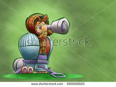 Little boy with telescope looking at the future