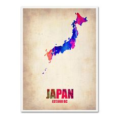 Trademark Fine Art Naxart Japan Watercolor Map ($45) ❤ liked on Polyvore featuring home, home decor, wall art, map home decor, colorful canvas wall art, map wall art, map canvas wall art and canvas wall art