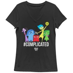 Its time to start making happy memories with the Inside Out Complicated Emotions Black T-Shirt! Rileys emotions Fear, Sadness, Anger, Joy, and Disgust are all  above #Complicated on the front of this funny Inside Out shirt with a cute V-neckline.