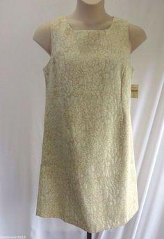 COLDWATER CREEK Beige Off White Floral Jacquard Sheath Dress Size 16 Petite NWT #ColdwaterCreek #Sheath
