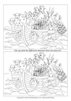 Noah's Ark Find the Differences Find The Difference Pictures, Spot The Difference Puzzle, Spot The Difference Printable, Super Coloring Pages, Colouring Pages, Coloring Books, Bible Lessons, Lessons For Kids, Hidden Picture Puzzles