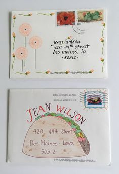 pushing the envelopes: May PTEX from Maggie and Patty - Flowers and a Taco Mail Art Envelopes, Cute Envelopes, Decorated Envelopes, Addressing Envelopes, Envelope Lettering, Envelope Art, Envelope Design, Hand Lettering, Pen Pal Letters