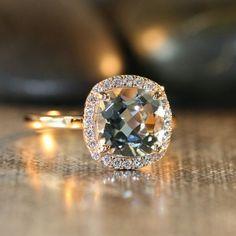 Natural Aquamarine Engagement Ring in 14k Rose Gold 9x9mm Cushion Aquamarine Ring Halo Diamond Wedding Ring (Custom Made Ring Available) on Etsy, $798.00