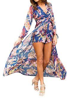 e43ae3a4425c0 Lovaru Women s Floral Print Chiffon Flowing Boho Boyshorts Romper Dress for  Beach Plus Size Jumpsuit