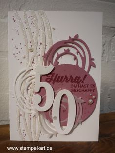 Birthday card to stamp type Stampin up, intricate Wonderful, Big Numbers, Gorgeous Grunge, pairs