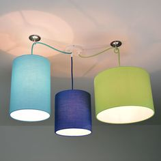 Three Way Ceiling Rose Kit With Plain Bright Lampshades
