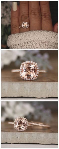 Rose Gold Morganite Ring Cushion Morganite Engagement Ring Diamond Band Bridal Ring Set Rose Gold Morganite Ring Promise Ring - May 11 2019 at Big Wedding Rings, Wedding Rings Solitaire, Wedding Rings Rose Gold, Wedding Rings Vintage, Bridal Rings, Vintage Engagement Rings, Wedding Jewelry, Gold Jewelry, Jewellery Box