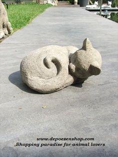 Lucas Stone Garden ornament; Sleeping Cat