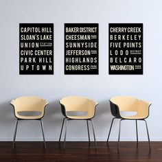 Industrial Subway Sign, DENVER Art Poster, Modern Typographic Print, City Map Style, Gift for Family Room, Quote Art, Set of 3