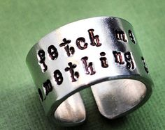 OMG!!!!  Fetch me something GAY - Felix adjustable RING  Fetch me something gay . Orphan Black Inspired Handstamped Wide Ring . Customizable, Adjustable Ring in Your Choice of Metal .