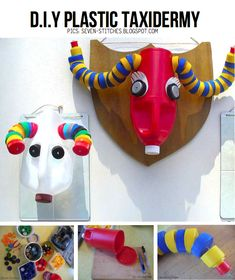 Recycled plastics taxidermy from Seven-stitches.blogspot.com, featured in round-up of DIY Vegan Taxidermy ideas on ScrapHacker.com