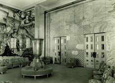 Small sample of the Art Deco magnificence in the Normandie's 1st class lounge
