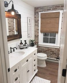 Best Rustic Bathroom Decor Ideas to Attempt in Your Home - Kids Bathroom Ideas – Enhancing kids washroom can be extremely fun. Every edge of the washroom ha - Bad Inspiration, Bathroom Inspiration, Casa Magnolia, Brick Veneer Wall, Faux Brick Walls, Faux Shiplap, White Shiplap, Bathroom Kids, Master Bathroom