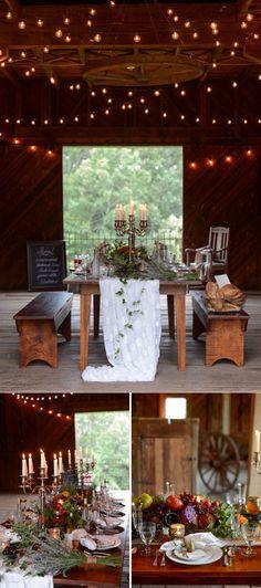 woodland indoor wedding table setting ideas