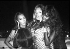 Famous faces: Kim Kardashian was clearly excited to be in hanging out with two of the biggest models in the world as she shared another picture captioned: ¿#Ibiza #Kate #Naomi'