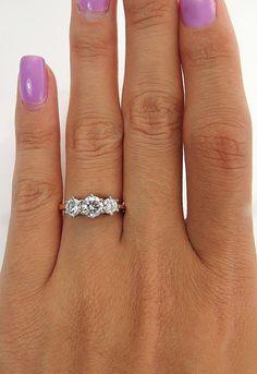 Estate English 1.00ct Three Stone Round Brilliant Diamond Wedding ENGAGEMENT Ring in 18k and Platinum