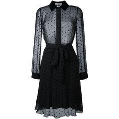 Givenchy star embellished sheer shirt dress (5,290 CAD) ❤ liked on Polyvore featuring dresses, black, long sleeve fitted dress, embellished dress, long shirt dress, see-through dresses and long sleeve a line dress