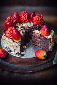 Chocolate, Almond and Strawberry Cake