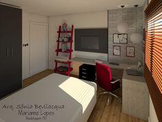 Projeto de decoração para quarto teen com temática urbana oriental.