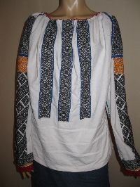 Antique Romanian blouse hand embroidered with black cotton thread plus orange cotton thread on white traditional linen .  Red hand made lace trim around the lower hem of the sleeves . Available at www.greatblouses.com Embroidered Blouse, Cotton Thread, Black Cotton, Lace Trim, Costumes, Traditional, Orange, Antiques, Sleeves