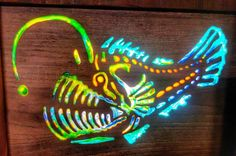 #resinart #resininlay #resin #inlay #woodenlight #ilikehiswood #woodworking #woodlight  #customwoodwork #xcarve #inventables #modern #art #retro #psychedelic #anglerfish by woodwork78