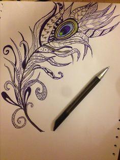 Tattoo ideas #Zen doodling. #Piuma di #pavone,#tattoo. Feather tattoo
