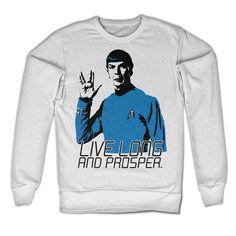 Star Trek - Live Long And Prosper heren unisex sweatshirt trui wit - Superhelden…