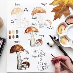 1,582 vind-ik-leuks, 35 reacties - Anna Koliadych (@dearannart) op Instagram: 'Hello ☺️🍂🍄 Day 6 #dearannart_autumn the topic is Fall Mushrooms 🙈✨🍁🍂 well I am not a big fun of…'