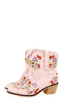 Dolly Floral Embroidered Western Ankle Boots at boohoo.com