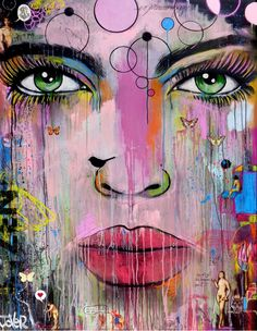 ARTFINDER: zen by Loui Jover - mixed media on canvas, i enjoy creating these large canvas works, incorporating the beauty of a womans face, adding collage, scribbles, imaginings, experimen...