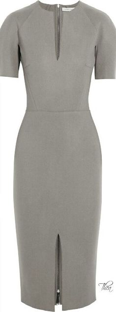 Clean lines great cut great fit grey pencil dress zipper back a wardrobe staple piece