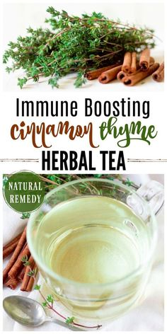 Immune Boosting Cinnamon Thyme Tea is a delicious, flavorful, natural remedy that helps support the immune system, soothes sore throats and so much more. | Recipes to Nourish // DIY | Herbal Tea | Gluten Free #naturalremedy #immunesystem #herbaltea via @recipes2nourish