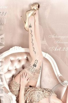 Luxury Hold Up Stockings with Delicate Pattern Ballerina