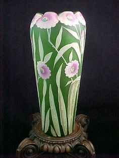 Art Glass Art Deco Green Glass Glass Bowl With Handpainted Flowers Great Varieties Pottery, Porcelain & Glass
