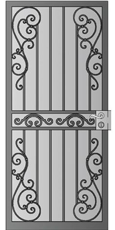 Security Screen Doors : Great Gates and Whiting Iron in Phoenix AZ Door Grill, Window Grill, Security Door, Security Screen, Grill Gate Design, Wrought Iron Doors, Iron Work, Iron Gates, Steel Doors