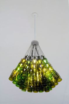 Side view of wine bottle chandelier
