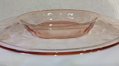 RARE Fostoria ROLLED TOP Pink Depression Glass Center Bowl by KatsVintageTreasures on Etsy