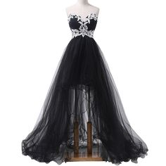 Real Photos Short Front Long Back Prom Dress Black Sweetheart Neckline Applique Plus Size Cheap Vestidos Fiesta Mujer CS140