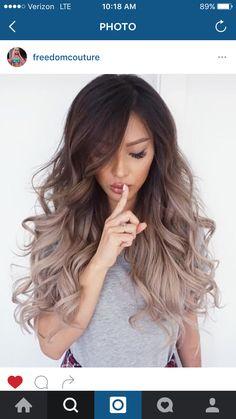 New hair goals brunette balayage Ideas Ombré Hair, Bad Hair, Hair Dos, Curls Hair, Waves Curls, Frizzy Hair, Ombre Hair Long Bob, Asian Ombre Hair, Asian Hair